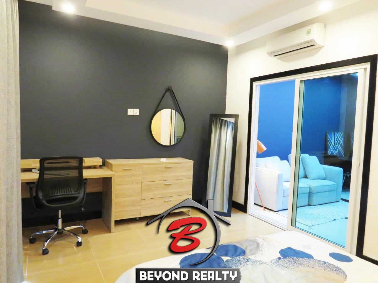 the bedroom of the 1br flat for rent in Toul Tom Poung Russian Market Phnom Penh Cambodia