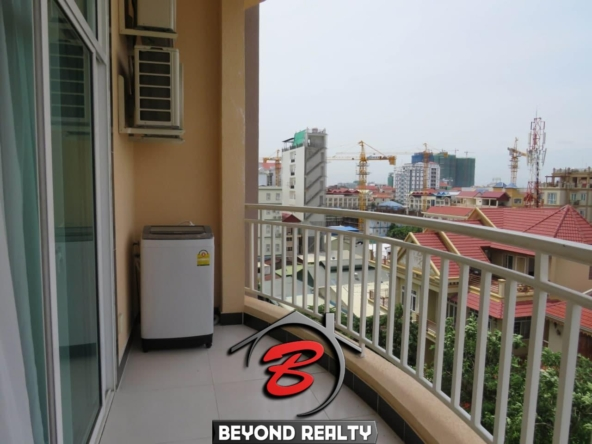 the balcony of the 1br flat for rent in Toul Tom Poung Russian Market Phnom Penh Cambodia