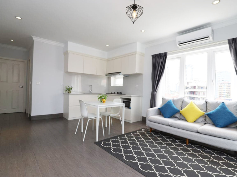 the living room of the 1br serviced apartment for rent in BKK1 Phnom Penh Cambodia