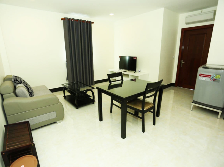 the living room of the 1br serviced apartment for rent in BKK2 Phnom Penh Cambodia