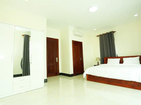 the bedroom of the 1br serviced apartment for rent in BKK2 Phnom Penh Cambodia