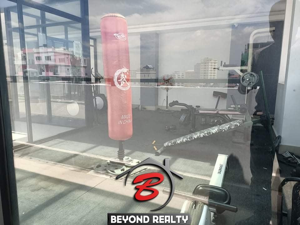 the gym of the 1br serviced apartment for rent in Toul Tom Poung Phnom Penh Cambodia