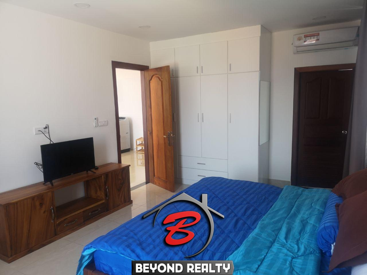 the bedroom of the 1br serviced apartment for rent in Toul Tom Poung Phnom Penh Cambodia
