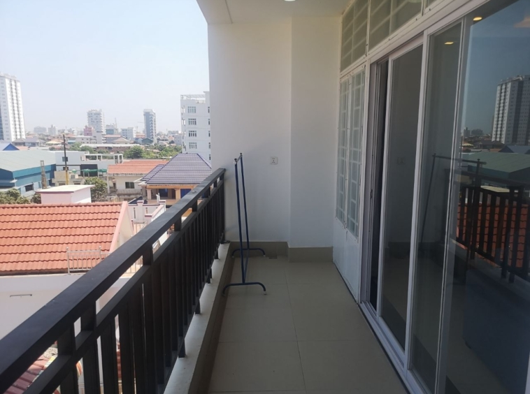 the balcony of the 1br serviced apartment for rent in Toul Tom Poung Phnom Penh Cambodia