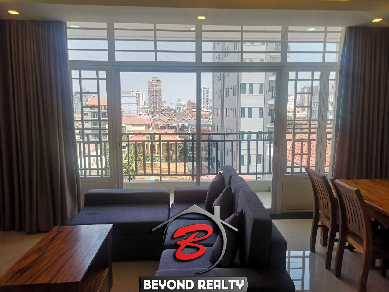 the living room of the 1br serviced apartment for rent in Toul Tom Poung Phnom Penh Cambodia