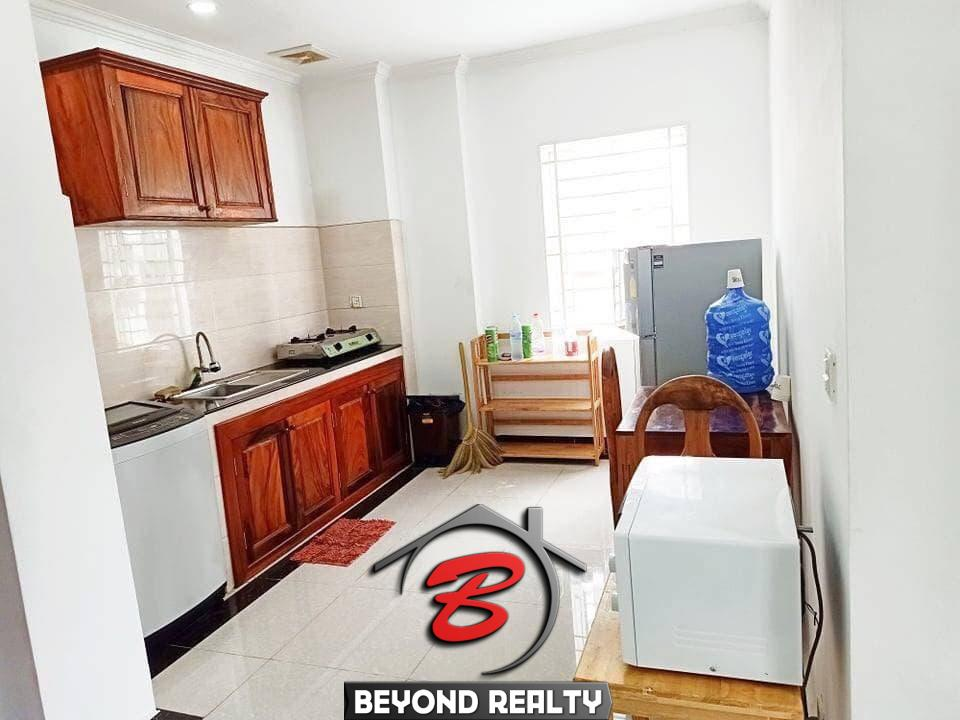 the kitchen of the 1br serviced flat for rent in Toul Tom Poung Phnom Penh Cambodia