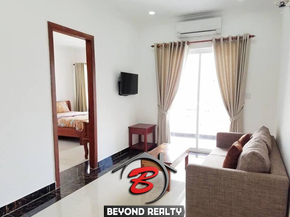 the living room of the 1br serviced flat for rent in Toul Tom Poung Phnom Penh Cambodia