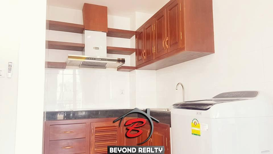 the kitchen of the 2-bedroom spacious serviced apartment rental in Toul Tom Poung
