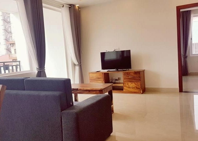 the living room of the 2-bedroom spacious serviced apartment rental in Toul Tom Poung (11)