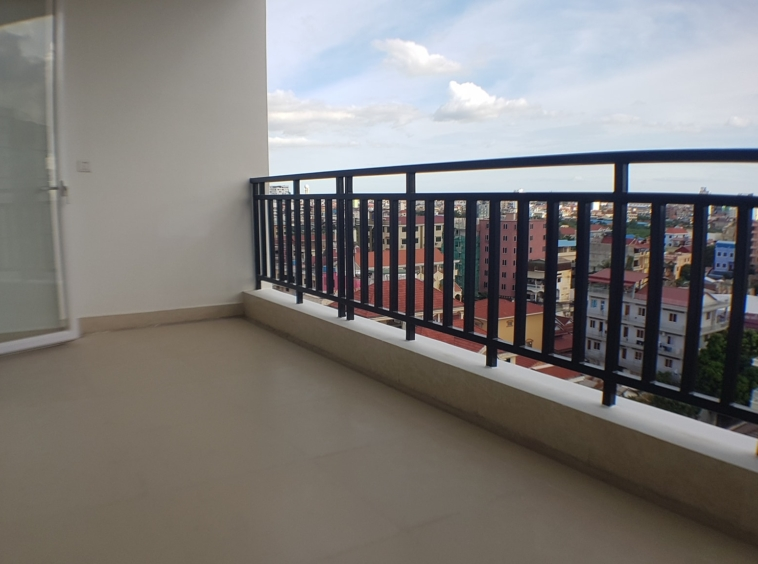 the balcony of the 2-bedroom spacious serviced apartment rental in Toul Tom Poung