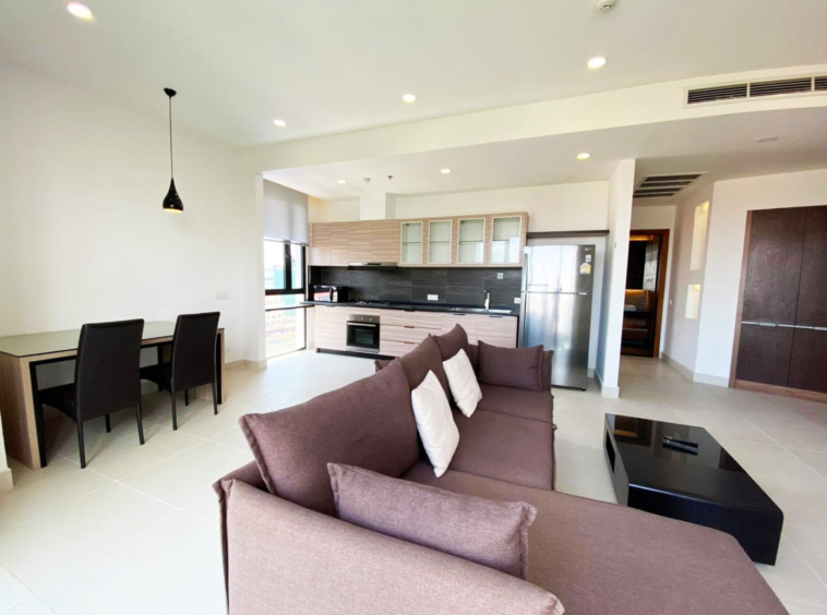 the living room of the 2br 107 sqm luxury condo for sale at Aura Condominium in Daun Penh Phnom Penh Cambodia