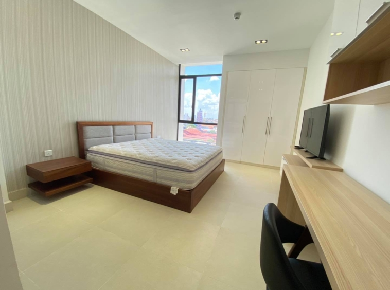 a bedroom of the 2br 107 sqm luxury condo for sale at Aura Condominium in Daun Penh Phnom Penh Cambodia