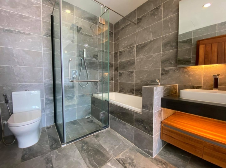 a bathroom of the 2br 107 sqm luxury condo for sale at Aura Condominium in Daun Penh Phnom Penh Cambodia