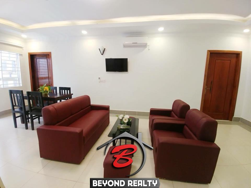the living room of the 2br flat for rent in Toul Svay Prey near Toul Tom Poung and BKK3 in Phnom Penh Cambodia