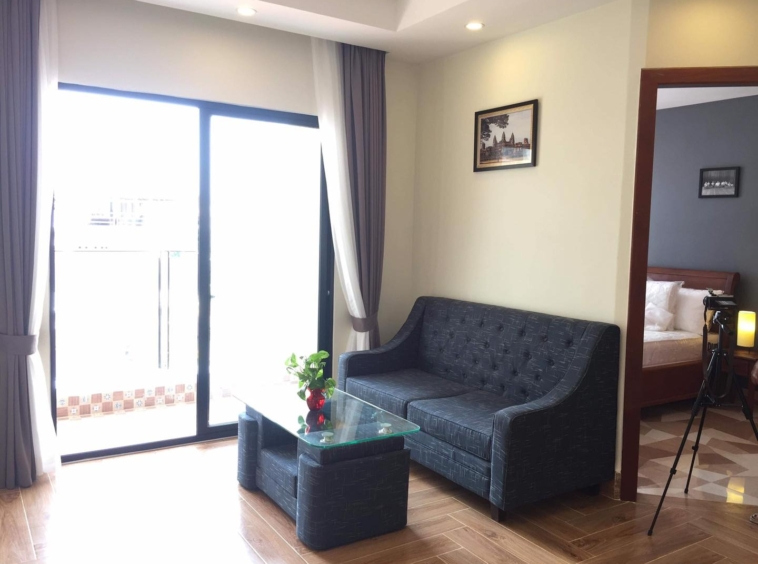 the living room of the 2br serviced apartment for rent in BKK3 in Phnom Penh Cambodia