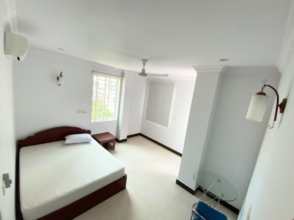 a bedroom of the 2br serviced apartment for rent in Sangkat Toul Tom Poung in Phnom Penh Cambodia
