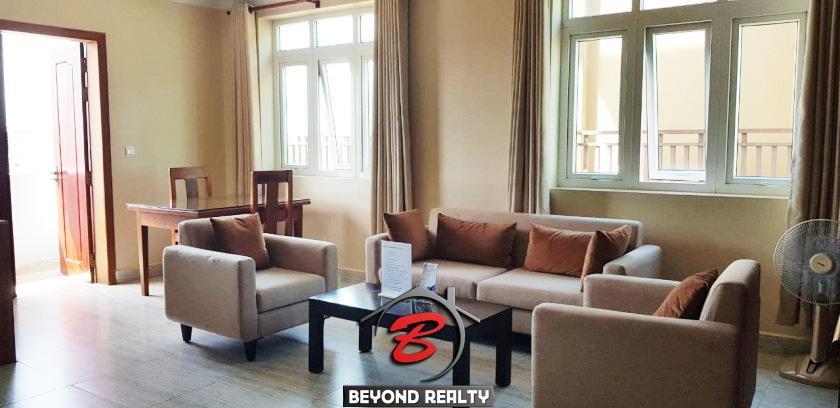 the living room of the 2br serviced apartment for rent in Toul Tom Poung Russian Market Phnom Penh Cambodia