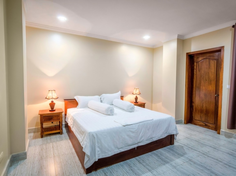 a bedroom of the 2br serviced apartment for rent in Toul Tom Poung Russian Market Phnom Penh Cambodia