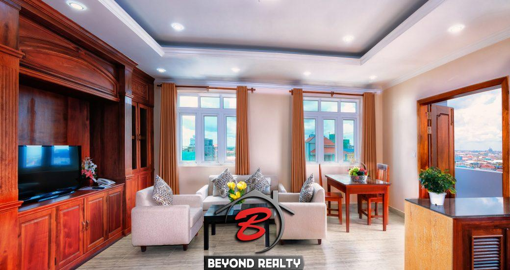 the living room of the 2br serviced flat for rent in Toul Tom Poung Phnom Penh Cambodia