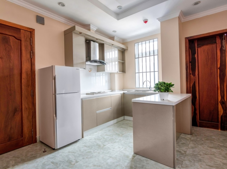 the kitchen of the 2br serviced flat for rent in Toul Tom Poung Phnom Penh Cambodia