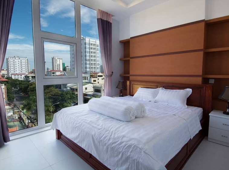 a bedroom of the 2br serviced flat for rent in Toul Tom Poung Phnom Penh Cambodia