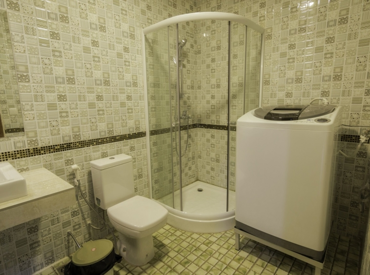 the bathroom of the 2br serviced flat for rent in Toul Tom Poung Phnom Penh Cambodia