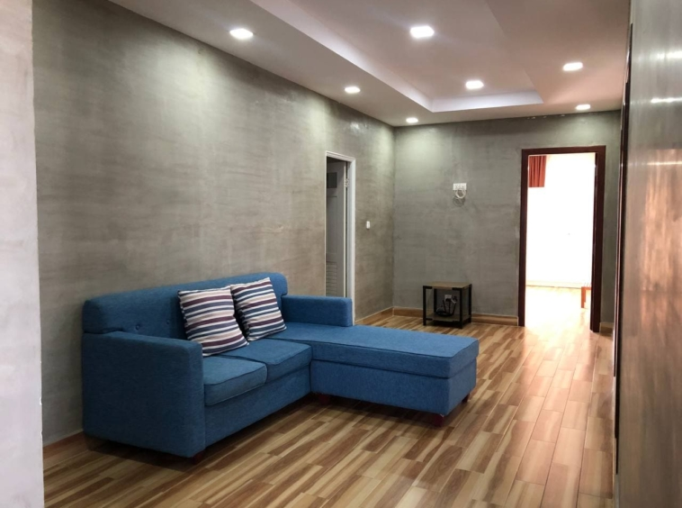 the living room of the 3-bedroom penthouse serviced apartment for rent in Tonle Bassac Phnom Penh Cambodia