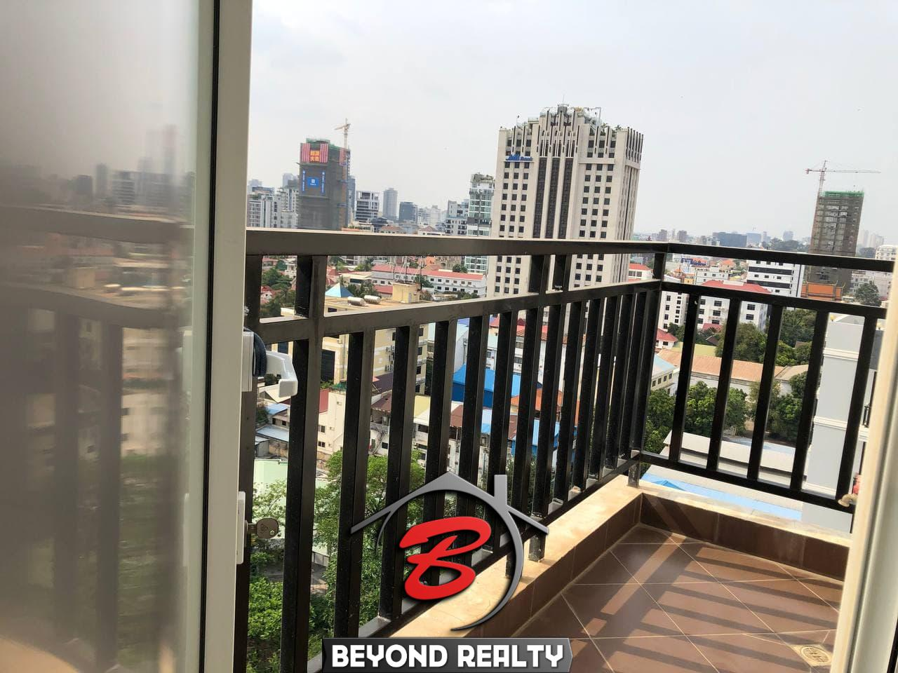 a balcony of the 3-bedroom penthouse serviced apartment for rent in Tonle Bassac Phnom Penh Cambodia