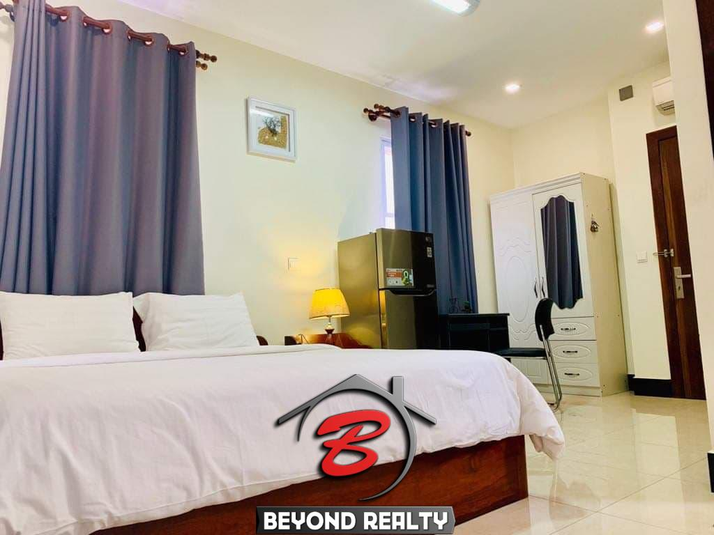 the bedroom of the studio serviced apartment for rent in BKK2 in Phnom Penh Cambodia