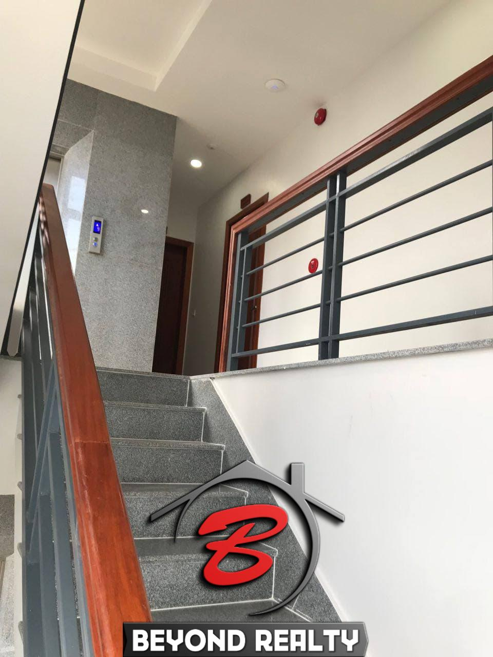 the elevator and the stairs of the serviced apartment for rent in Tonle Bassac Phnom Penh Cambodia