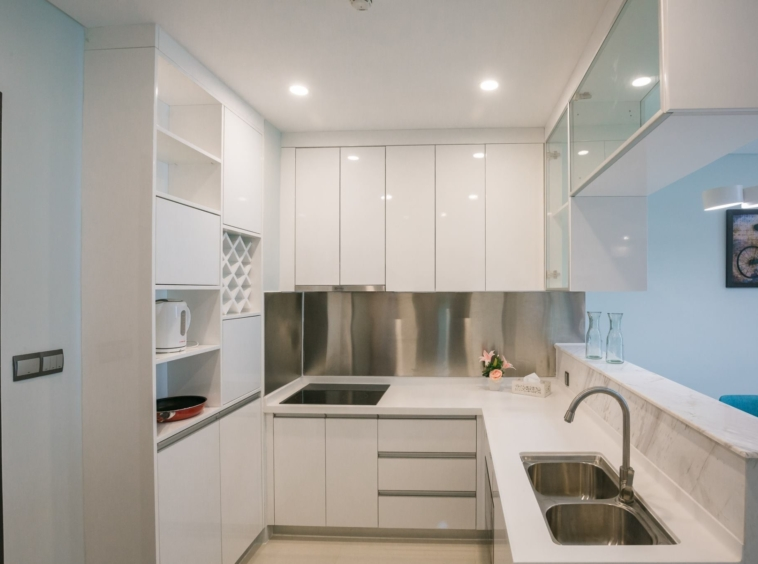 the kitchen of the 2-bedroom rental flat in Koh Pich Tonle Bassac Phnom Penh