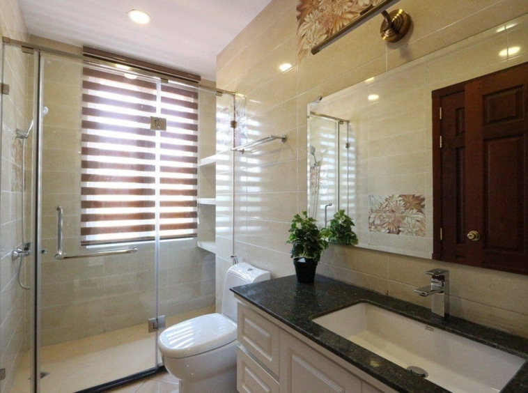 a bathroom of the 2br residence for rent in BKK1 Phnom Penh Cambodia