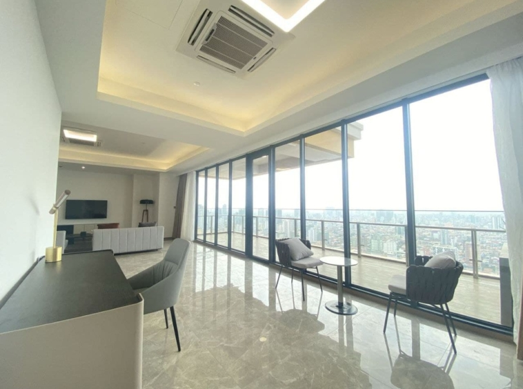 the living room and the balcony of 2br spacious luxury serviced condo for rent in Veal Vong 7 Makara Phnom Penh