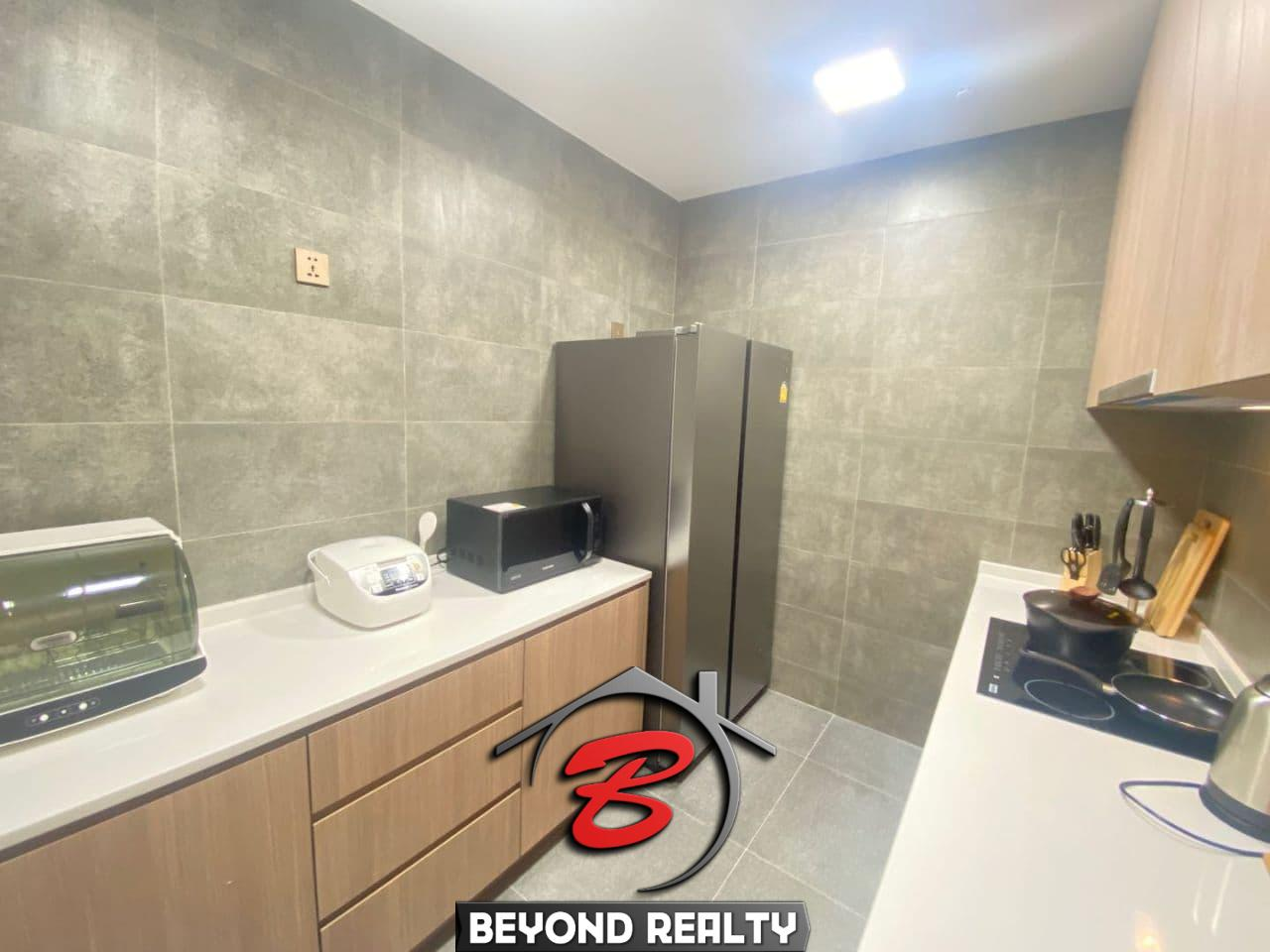 the kitchen of 2br spacious luxury serviced condo for rent in Veal Vong 7 Makara Phnom Penh