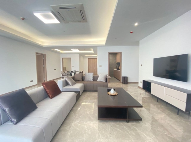 the living room of 2br spacious luxury serviced condo for rent in Veal Vong 7 Makara Phnom Penh