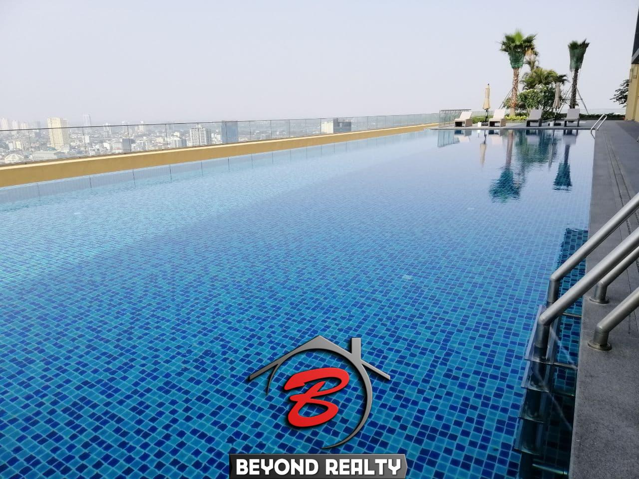 the swimming pool of the luxury serviced condo for rent in Veal Vong 7 Makara Phnom Penh