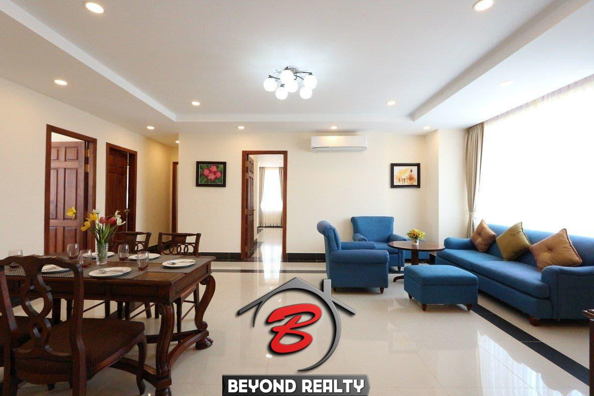 the living room of the 3-bedroom apartment for rent in BKK1 Phnom Penh Cambodia