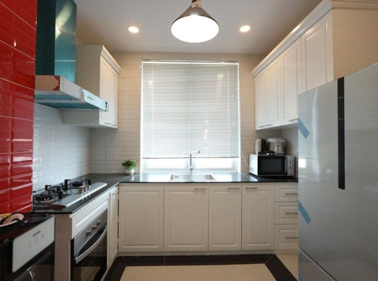 the kitchen of the 3-bedroom apartment for rent in BKK1 Phnom Penh Cambodia