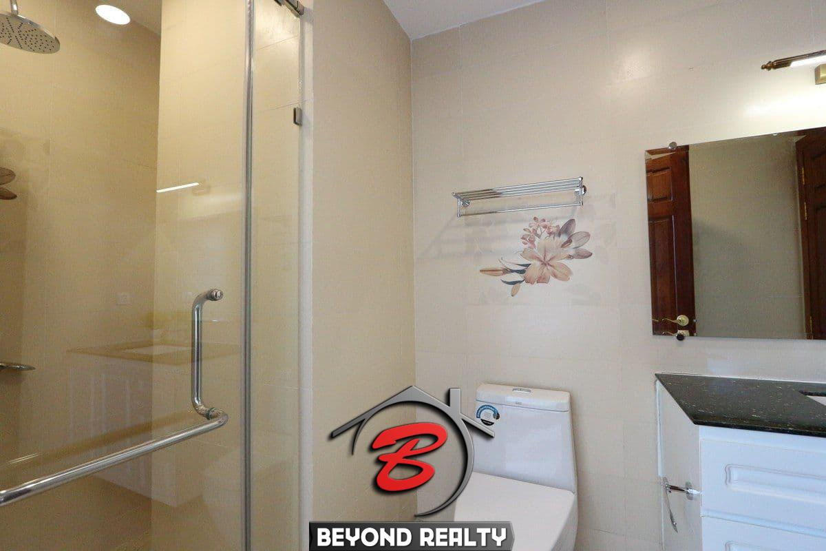 a bathroom of the 3-bedroom apartment for rent in BKK1 Phnom Penh Cambodia