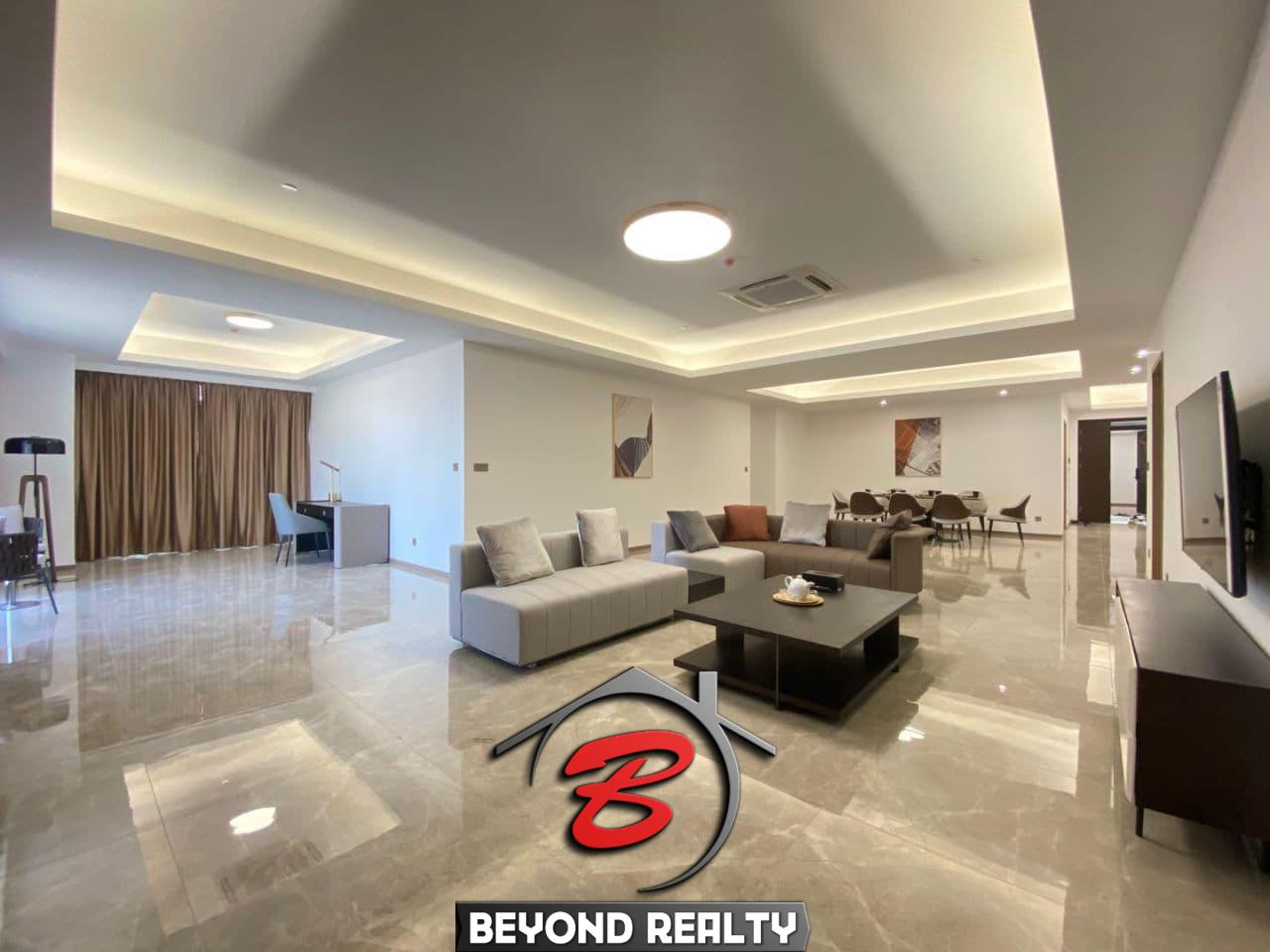 the living room 3-bedroom luxury spacious serviced flat for rent in Veal Vong 7 Makara Phnom Penh Cambodia