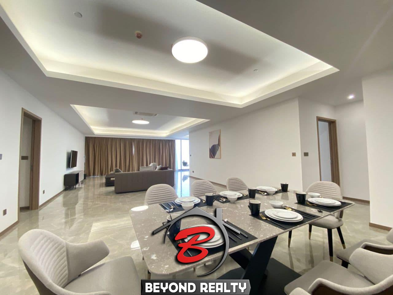 The living room of the 3-bedroom luxury spacious serviced flat for rent