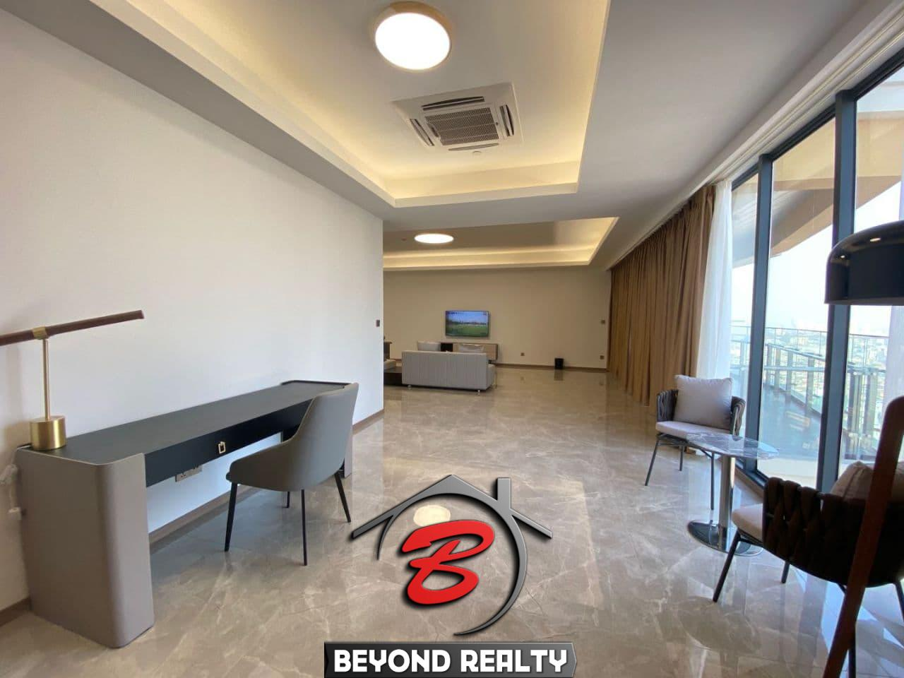 the living room and the balcony of the The living room of the 3-bedroom luxury spacious serviced flat for rent