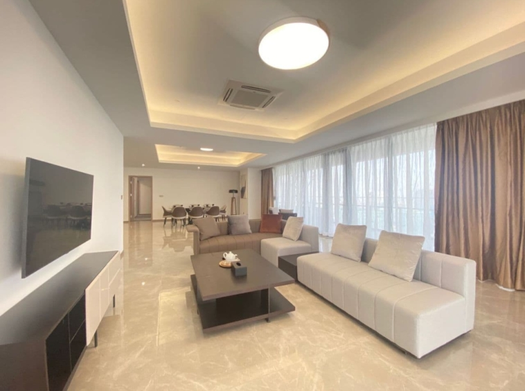 the living room of the 3br luxury flat for rent near Olympic Stadium in Veal Vong 7 Makara Phnom Penh