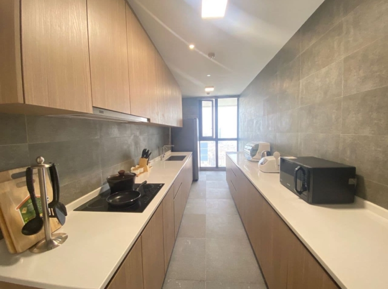 the kitchen of the 3br luxury flat for rent near Olympic Stadium in Veal Vong 7 Makara Phnom Penh