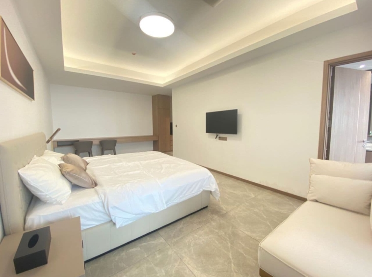a bedroom of the 3br luxury flat for rent near Olympic Stadium in Veal Vong 7 Makara Phnom Penh