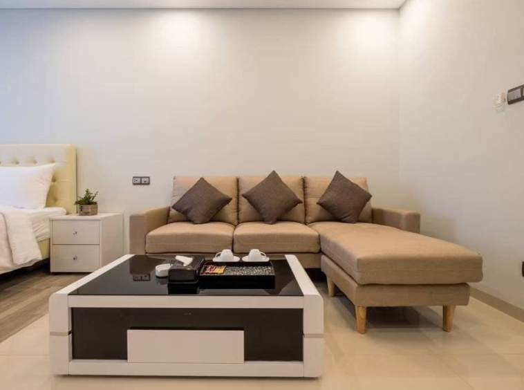 the living room of the comfortable studio for rent in Koh Pich Tonle Bassac Phnom Penh Cambodia