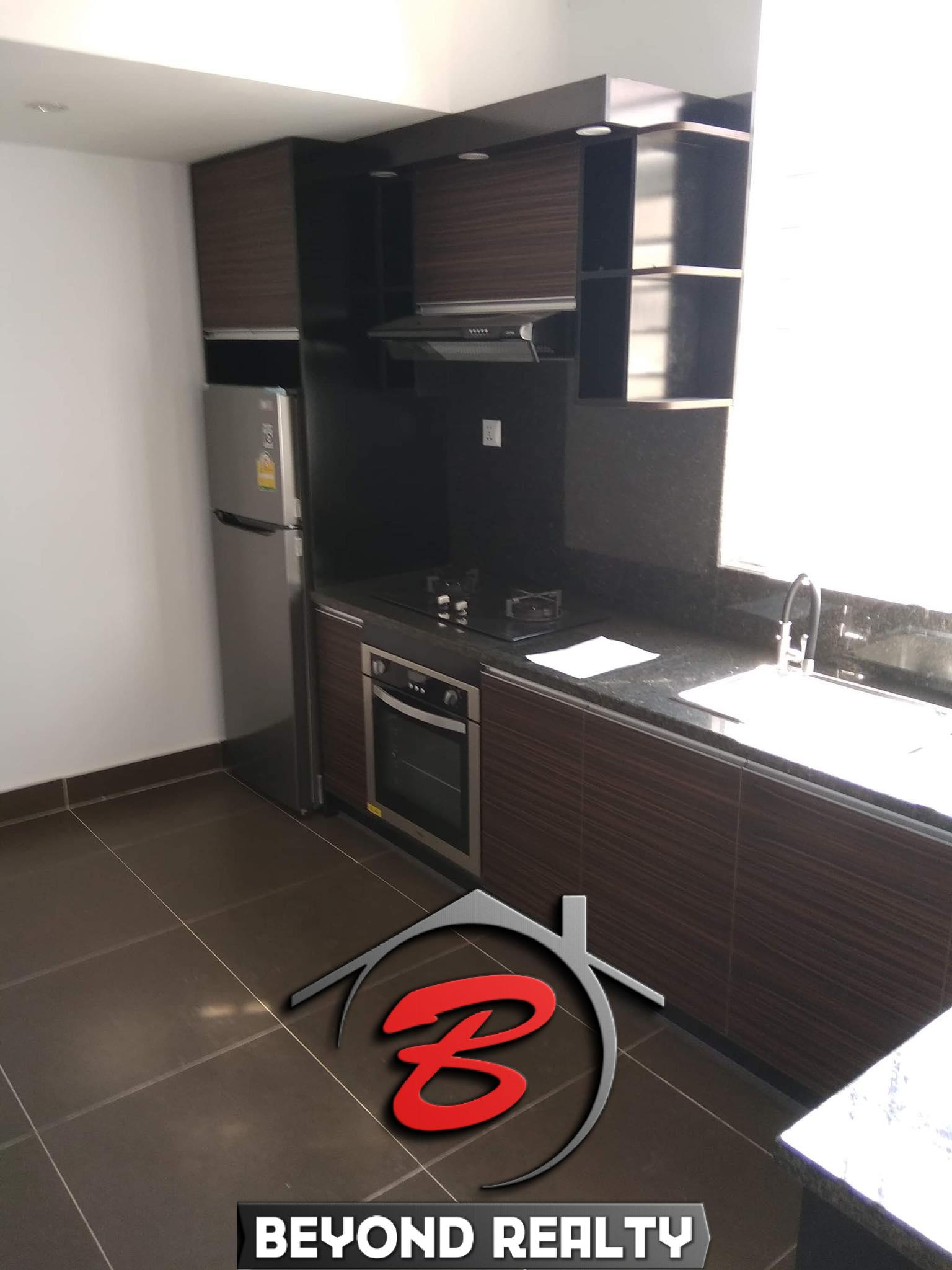 the kitchen of the renovated apartment for sale in Riverside area Daun Penh Phnom Penh