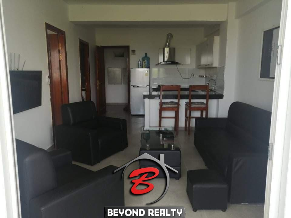the living room of the studio apartment resale at CVIK Apartments 3 in Sangkat 4 Sihanoukville Cambodia
