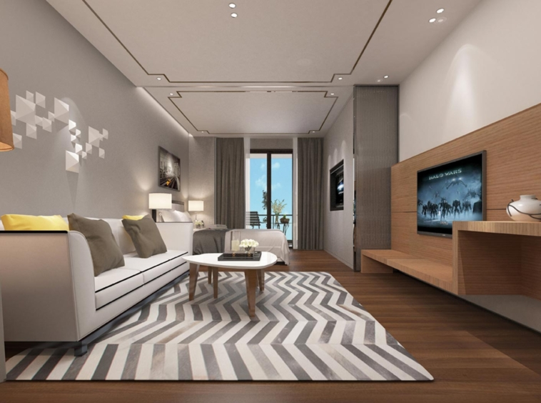 the living room of the 1 bedroom condo unit for sale at SeaGate Suite in Sangkat 3 Sihanoukville