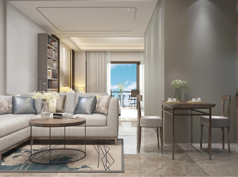 the living room of the 1-bedroom condo unit for sale at Seagate Suite at Mlob Chrey Beach in Sihanoukville